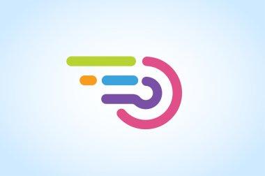 Fast line circle logo vector icon