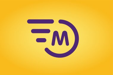 Fast line vector circle logo M rings monogram
