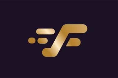 Fast line F letter logo monogram
