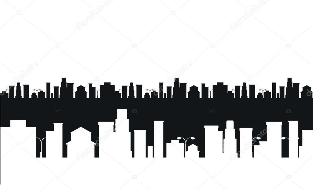 Vector Villes En Noir Et Blanc Silhouette Image