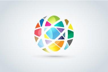 Vector abstract earth globe logo design