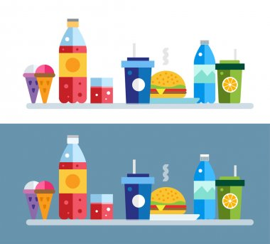 Fast food vector objects set