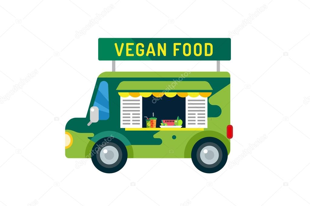 Vegan city food car van icon