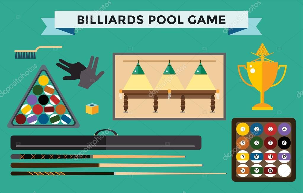 Reproductores y accesorios juego de billar ilustraci n plana piscina vector de stock adekvat - Accesorios billar ...