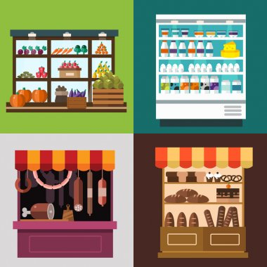 Fruit, vegetables, milk products, meat, bakery shop stall vector set