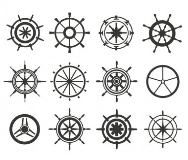 Vector rudder flat icons set