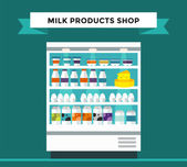 Fényképek Milk products shop stall with