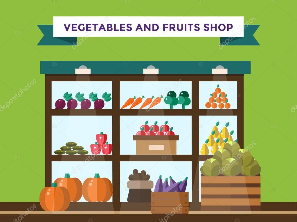 Fruit and vegetables shop stall