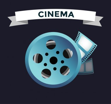 Film cinema technology vector. Twisted movie film strip with round box. Cinema film roll vector illustration. Cinema films 3d design, vector cinema movie image illustration. Movie logo icon isolated stock vector