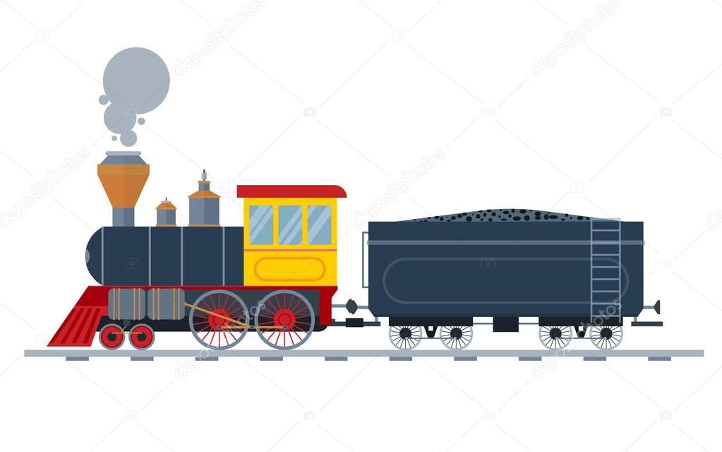 Old vintage retro transportation train