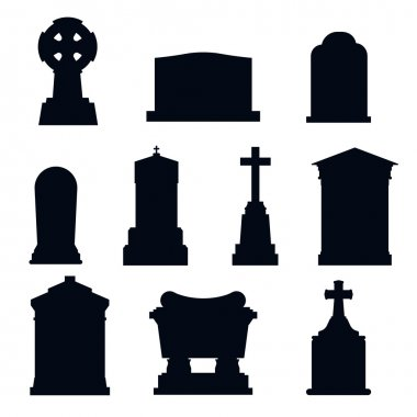 Tombs stone grave vector construction set. stock vector