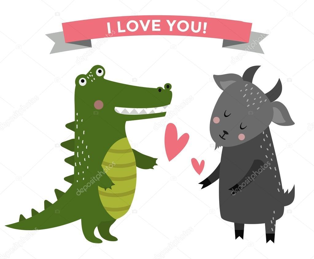 Parejas De Animales De Dibujos Animados Lindo Caen En Banner De Amor