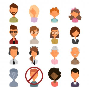 Set of people portrait face icon