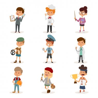 Set of cute cartoon professions kids.