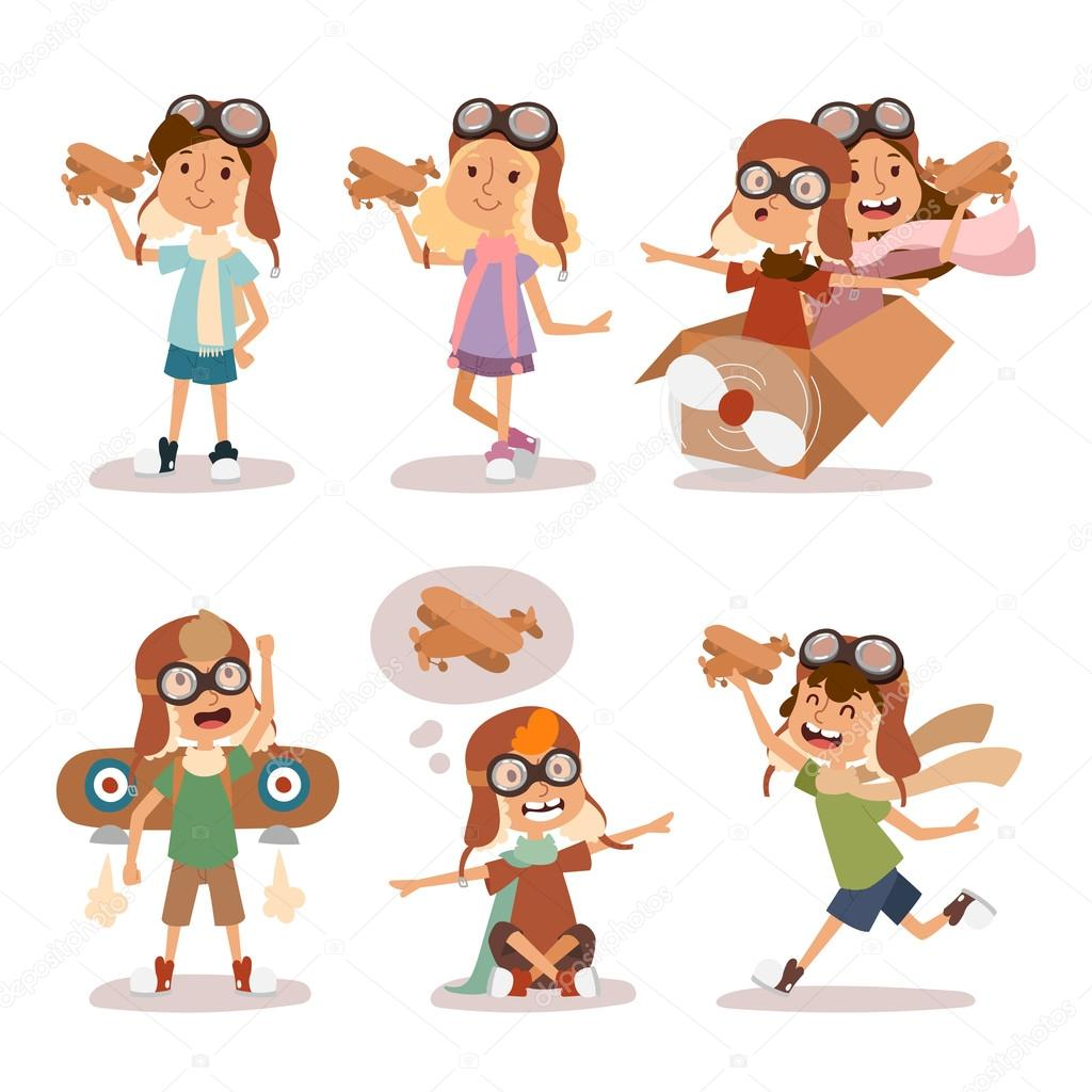 Small cartoon vector kids playing pilot aviation. Kids dreaming concept. Childhood vector kids playing games. Cartoon boys and girls playin like pilots. Plane, kids, children, play, jump, Kids dreams stock vector