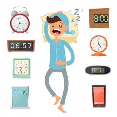 Alarm clock and sleeping man vector illustration