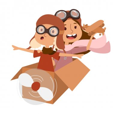 Small cartoon vector kids playing pilot aviation. Kids dreaming concept. Childhood vector kids playing games. Cartoon boys, girls play like pilots. Plane, kids, children, play, jump, Kids dreams icons stock vector