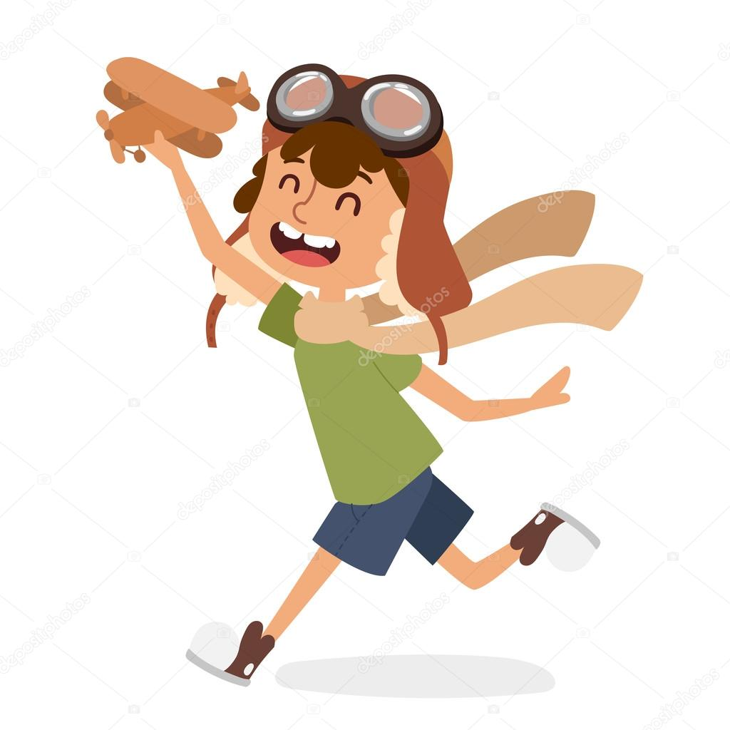 Small cartoon vector kids playing pilot aviation. Kids dreaming concept. Childhood vector kids playing games. Cartoon boys, girls play like pilots. Plane, kids, children, play, jump, Kids dreams icons stock vector