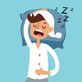 Fotografie Sleeping man in bad vector illustration