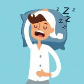 Sleeping man in bad vector illustration