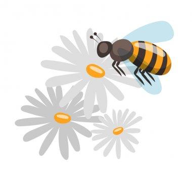 Bee cartoon style vector illustrations