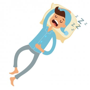 Sleeping man in bad vector illustration