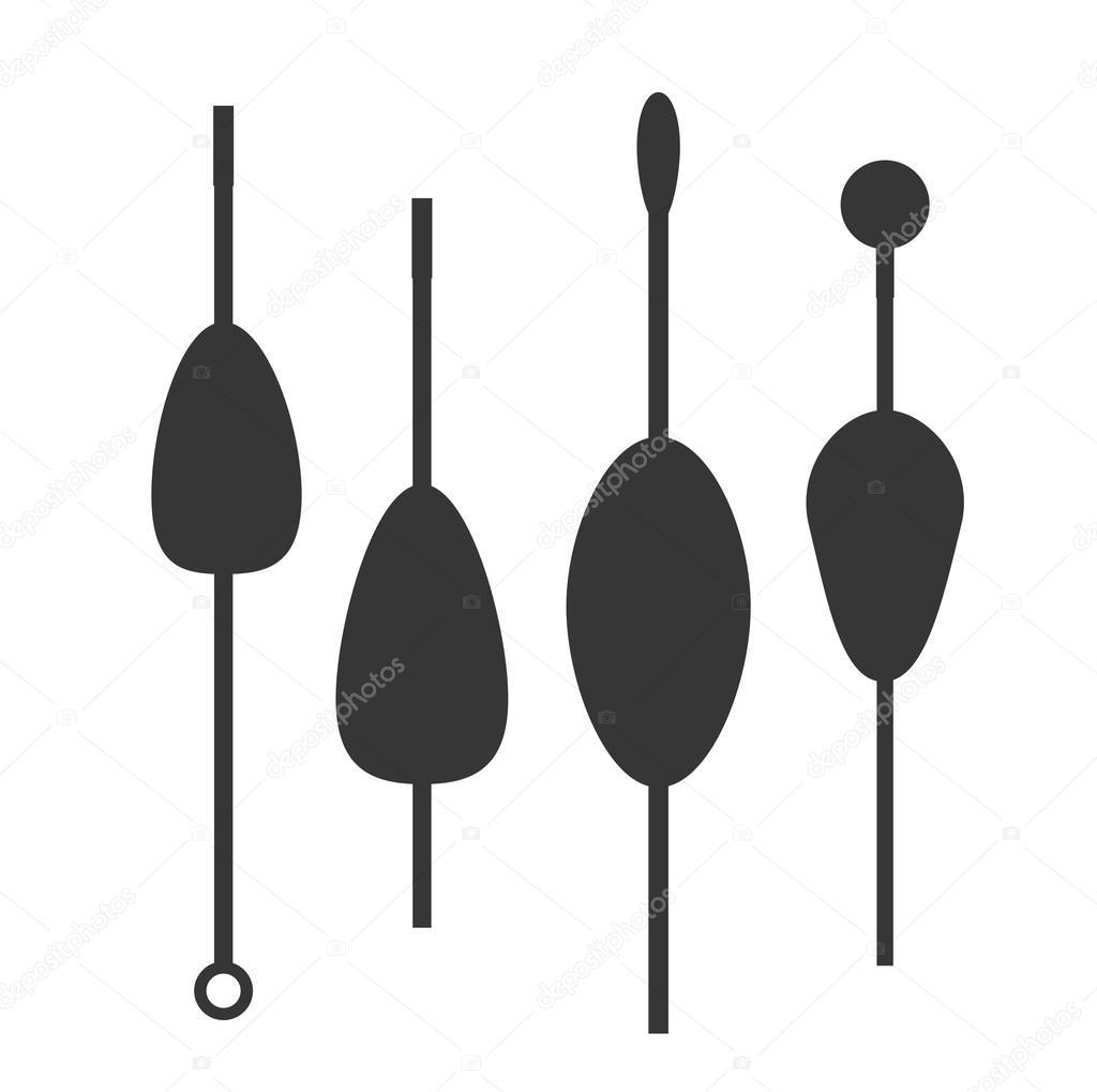 Fishing bobbers flat icons vector illustration