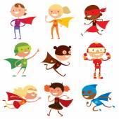 Fényképek Szuperhős gyerekek fiúk és lányok rajzfilm vektor illustrationt