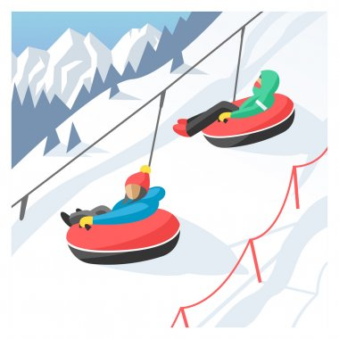 Snowboarder sitting in ski gondola and lift elevators. Winter sport resort background