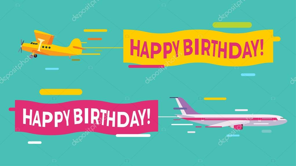 plane flying with happy birthday banners ストックベクター