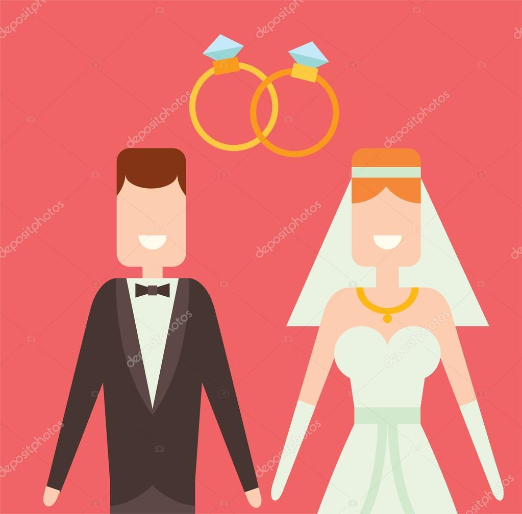 Brautpaar Cartoon Stil Vektor Illustration Stockvektor C Adekvat