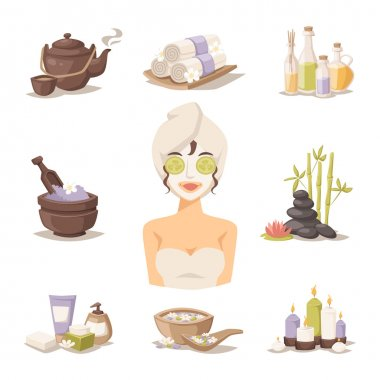 Spa beauty body care vector icons and woman in mask