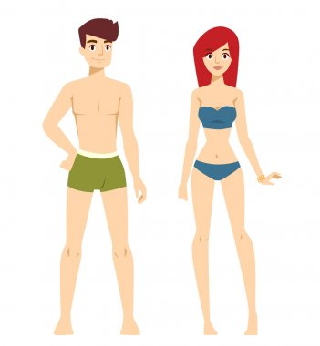 Beautiful vector cartoon nude couple fashion without clothes models look standing over background