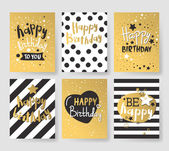 Photo Set of beautiful birthday invitation cards decorated with colorful balloons, cakes and cartoon elephant.
