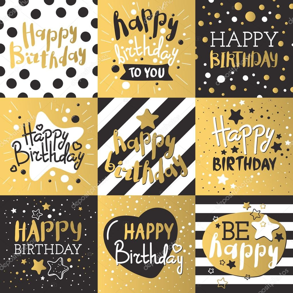 Jeu de cartes dinvitation anniversaire magnifique orn de ballons cartes dinvitation anniversaire beau design couleurs or et noir dcoration de cartes de voeux anniversaire vector or noir bandes lettrage stopboris Choice Image