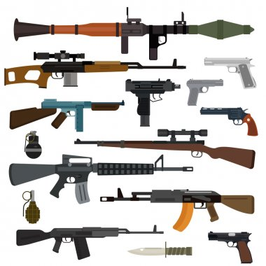 Weapons vector guns collection. Pistols, submachine guns, assault rifles, sniper rifles, knife, grenade vector icons. Vector gun illustration isolated on white background stock vector
