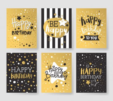 Set of beautiful birthday invitation cards decorated with colorful balloons, cakes and cartoon elephant.
