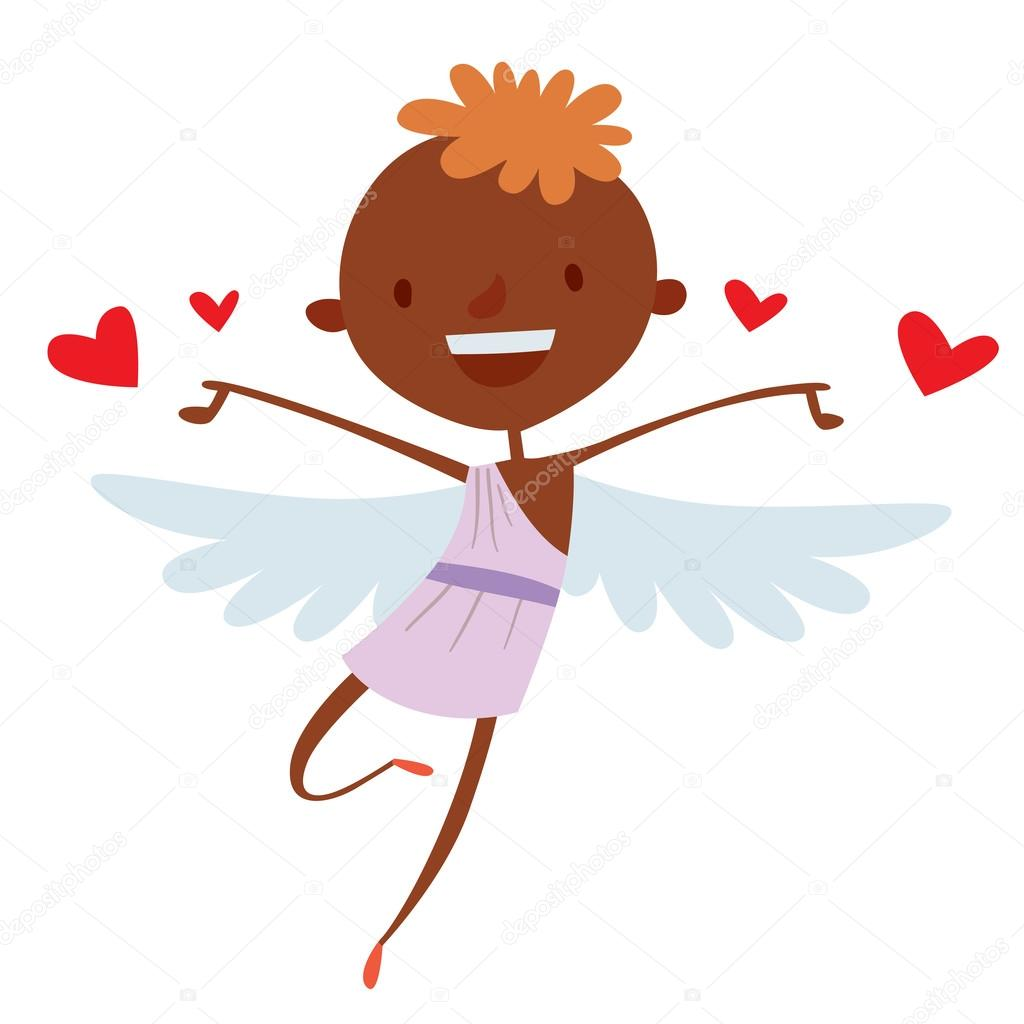 Valentine Day cupid angels cartoon style vector illustration