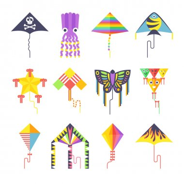 Flying kite vector collection Isolated on a white background