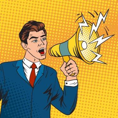 Pop art boss business leader and megaphone vector illustration