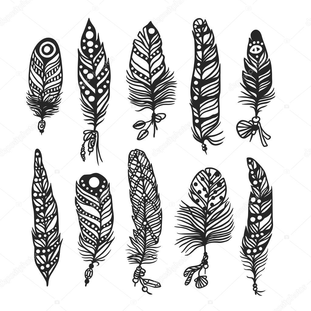 Mano de pluma Boho dibujado ilustración de estilo de vector de ...