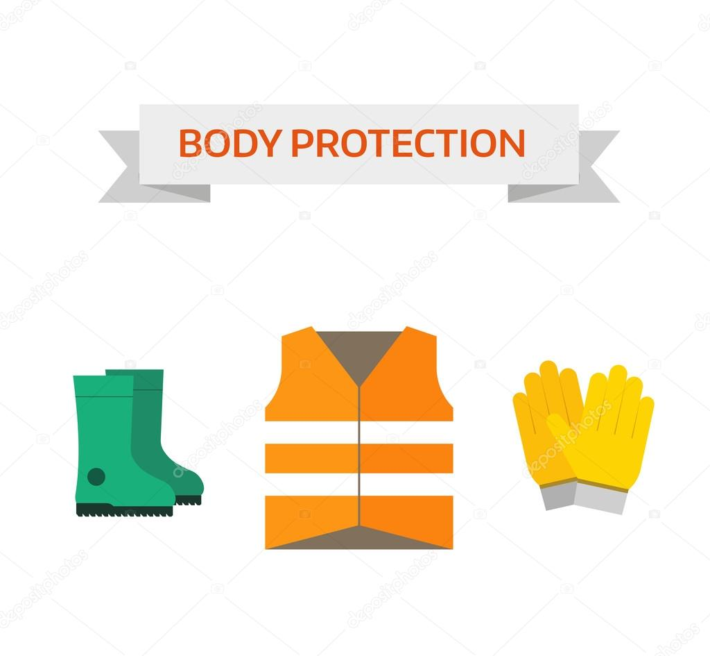 Safety work icons flat style