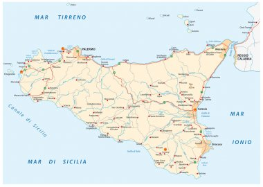 sicily island road map, Italy