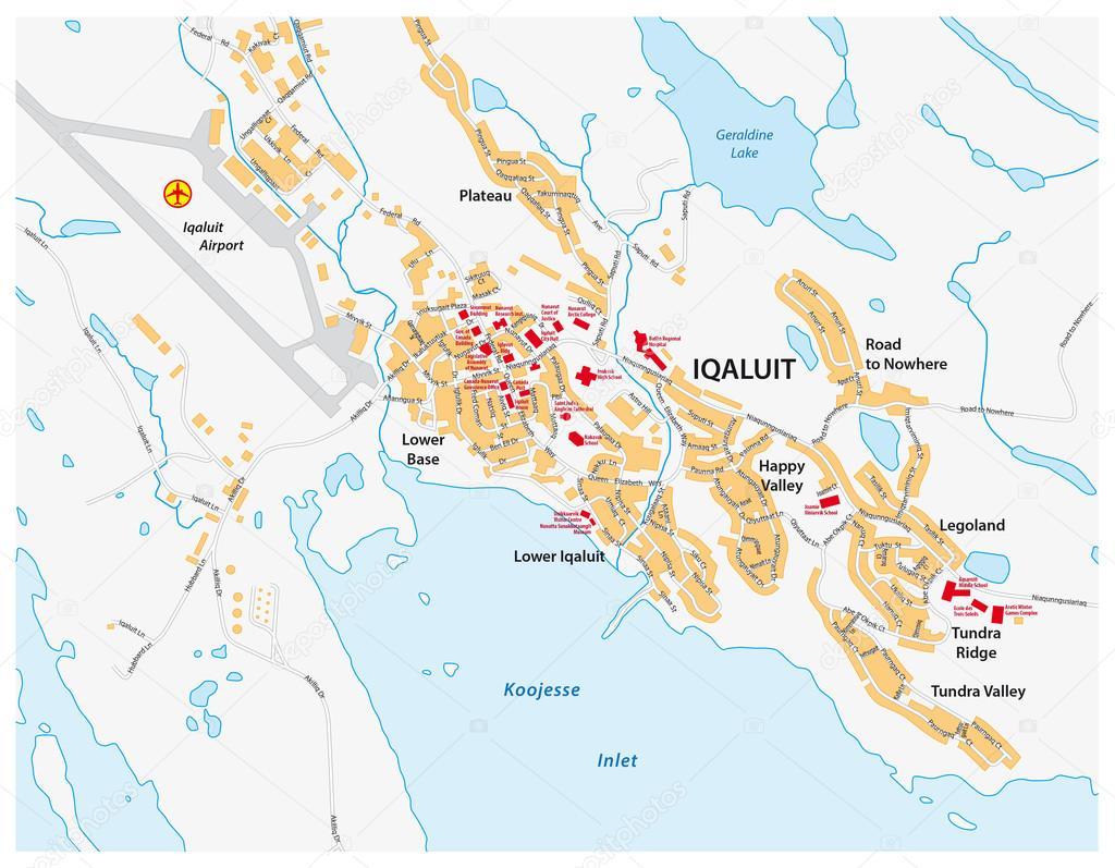 street map of Iqaluit Nunavut territory Canada Stock Vector