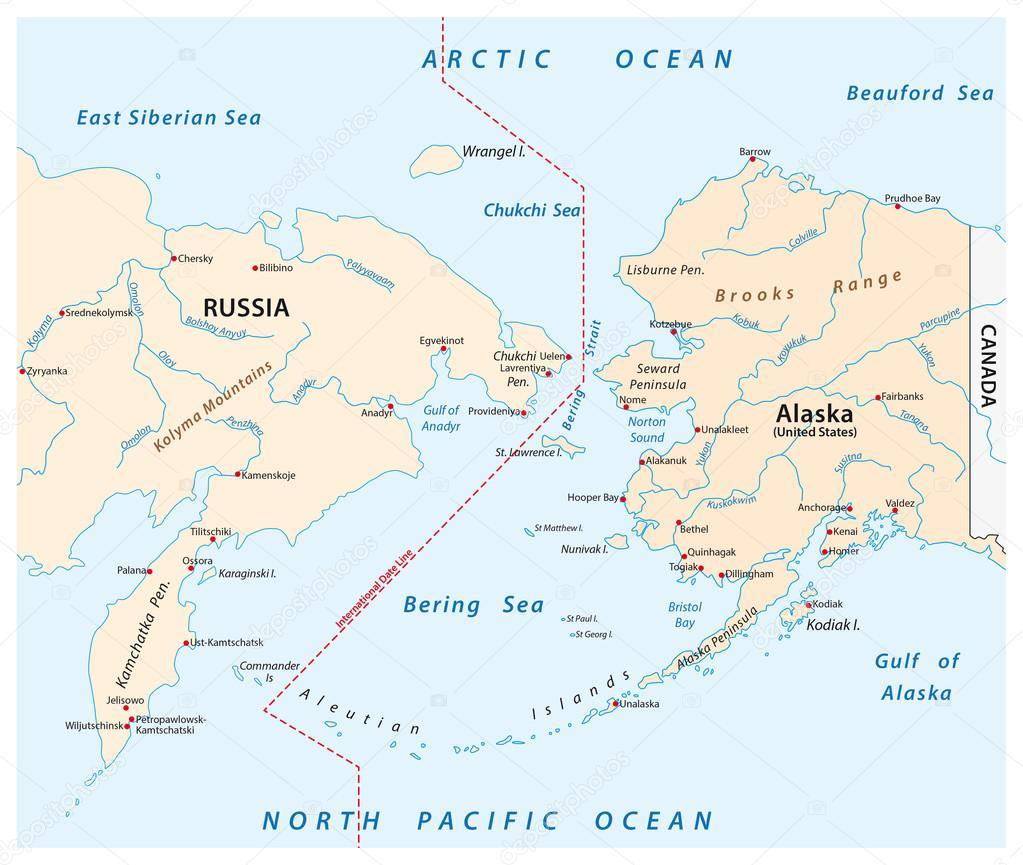 ロシアとアラスカの間にベーリン...