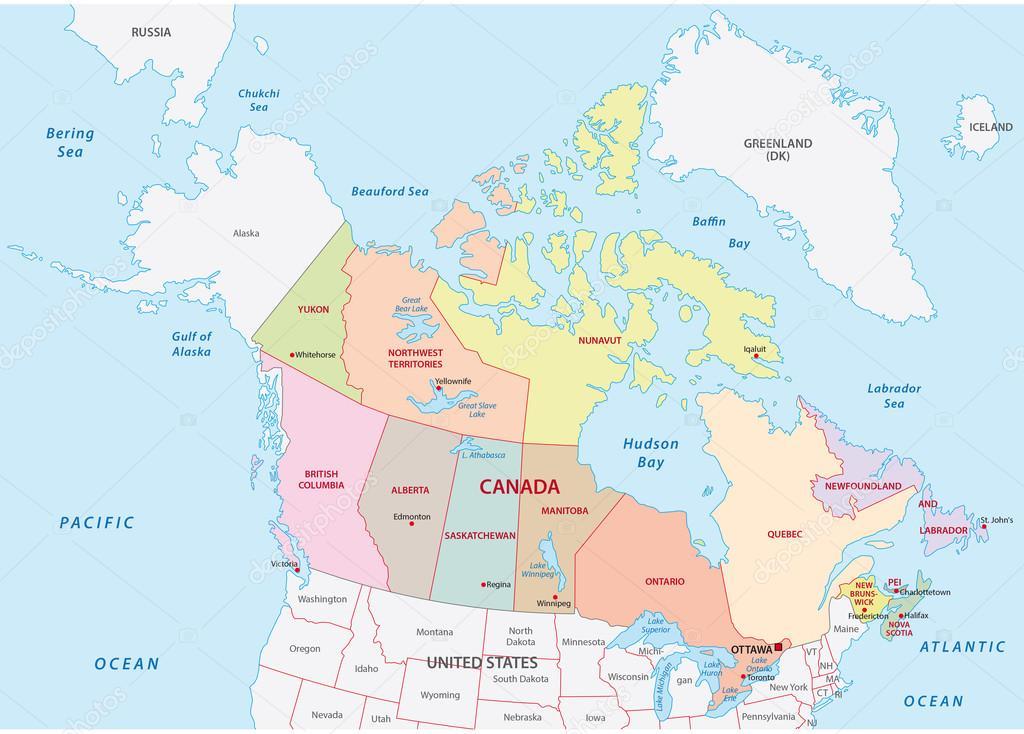 Carte Administrative Canada.Illustration D Une Carte Administrative Et Politique Du