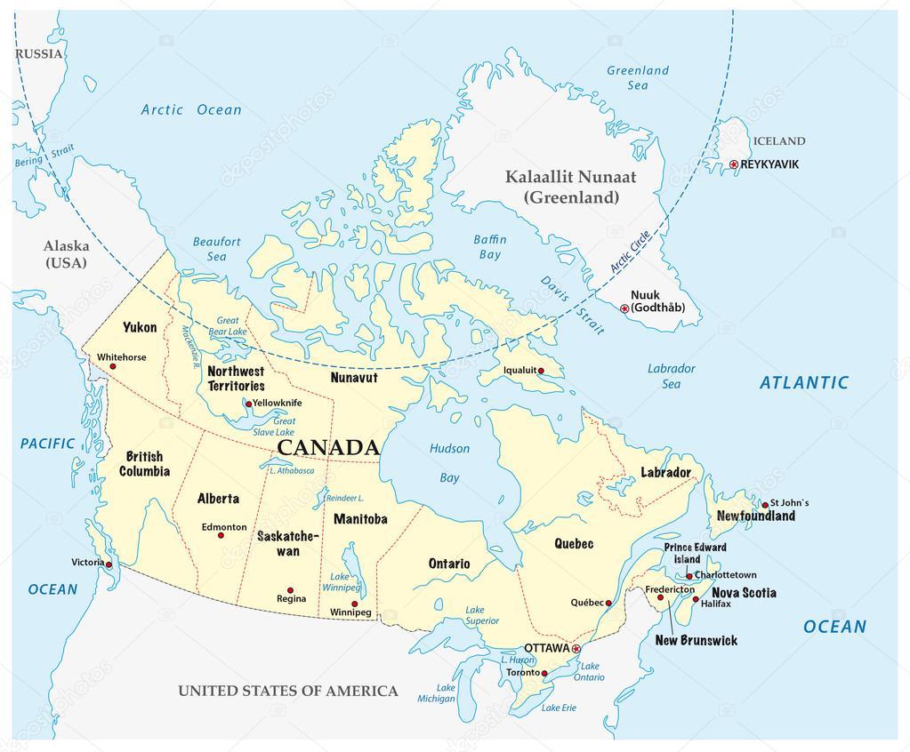 kanada karta Kanada karta med provinser och gränsen — Stock Vektor © Lesniewski  kanada karta