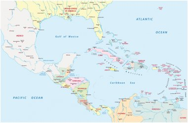 administrative map of Central America and the Caribbean countries