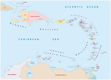 map of the states of the lesser Antilles