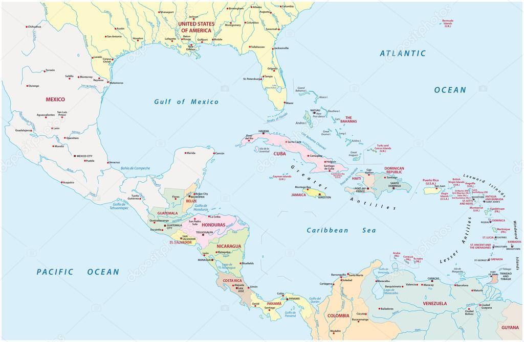 amerika térkép országok Közép Amerika és a karibi országok közigazgatási Térkép — Stock  amerika térkép országok